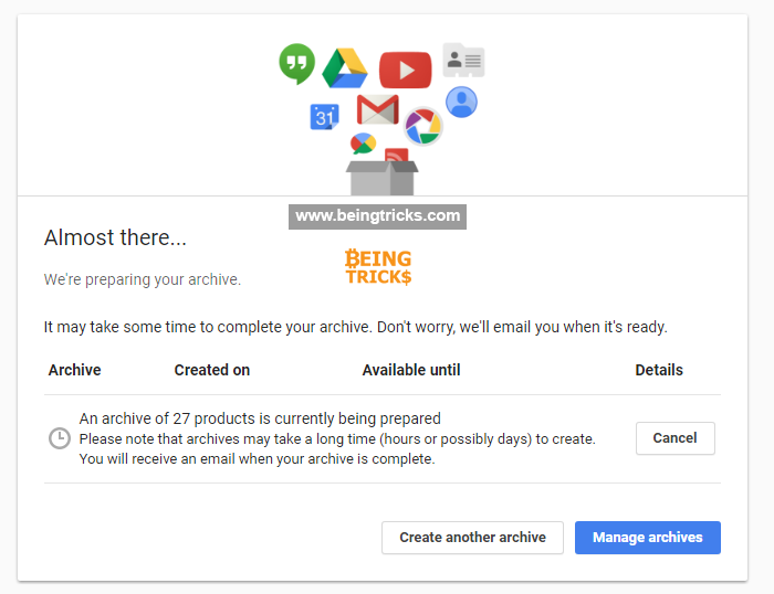 google takeout archive, backup gmail account