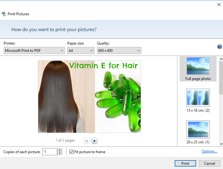 how to print multiple pictures on one page Windows 10